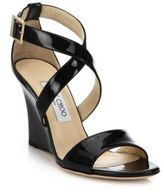 Jimmy Choo Fearne 85 Patent Leather Wedge Sandals