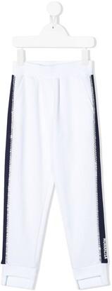 MonnaLisa Rhinestone-Embellished Track Pants