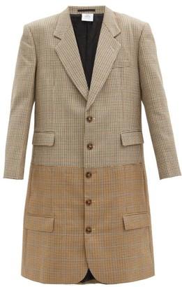Vetements Banded Gun-club Checked Wool Overcoat - Brown