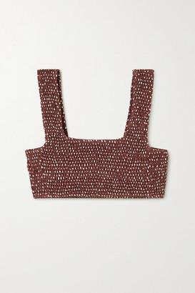 Faithfull The Brand Net Sustain Shirred Polka-dot Bikini Top