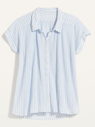 Old Navy Oversized Textured-Stripe Short-Sleeve Shirt for Women
