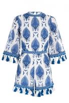 Quiz White And Blue Printed Tassel Hem Playsuit