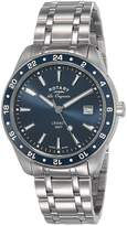 Rotary Men's Swiss Legacy GMT Stainless Steel Dial Watch