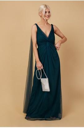 Little Mistress Bridesmaid Eden Dark Green Knot-Front Maxi Dress