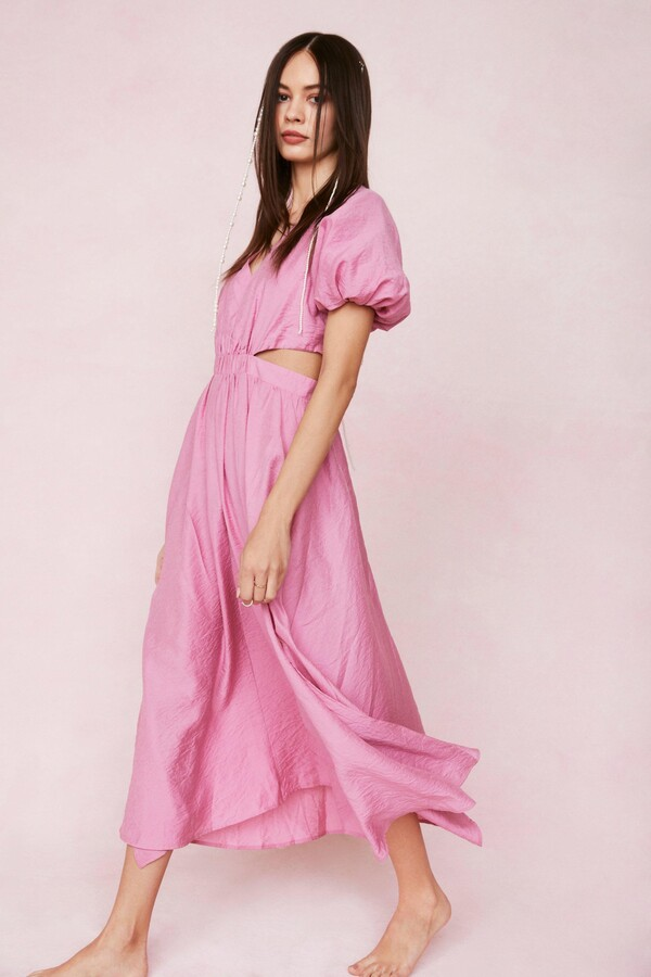Thumbnail for your product : Nasty Gal Womens Puff Sleeve Cut Out Maxi Dress - Pink - 6