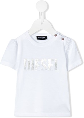 Diesel metallic foil logo print T-shirt