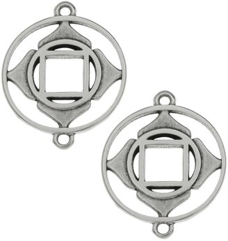 Beadaholique Chakra Components, Muladhara / Root Connector Link 24.5x19.5mm, 2 Pieces, Antiqued Silver Plated