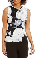 Calvin Klein Petites Pleat Neck Floral Print Matte Jersey Shell