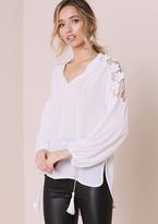 Missy Empire Elin White Flower Shoulder Detail Blouse