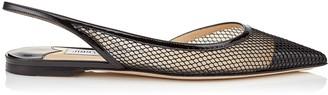 Jimmy Choo FETTO FLAT Black Patent Mesh Pointed Toe Flat