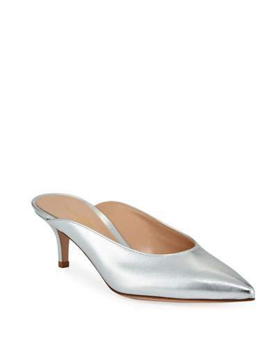 Gianvito Rossi Low-Heel Metallic Leather Dip-Vamp Mule