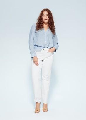 MANGO Violeta BY Striped cotton blouse silver - 10 - Plus sizes