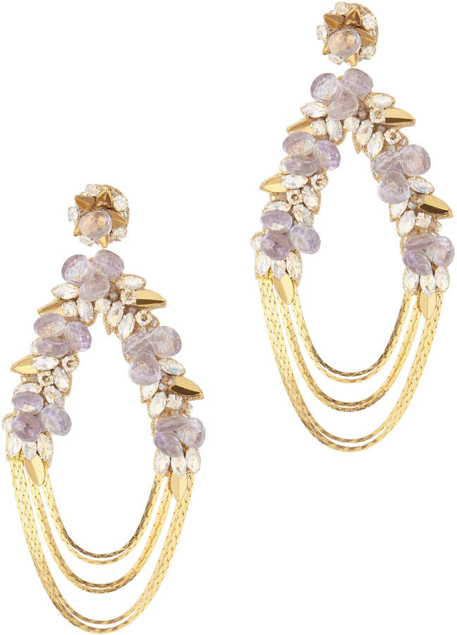 Deepa Gurnani Penelope Floral Chain Earrings