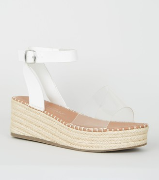 New Look Wide Fit Clear Strap Espadrille Flatforms