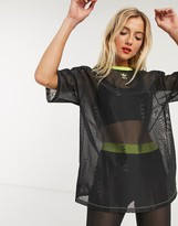 adidas x Fiorucci trefoil mesh oversize t-shirt in black