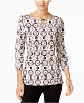 Charter Club Petite Medallion-Print Hardware Blouse, Only at Macy's