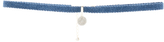 Gold Plated Sterling Silver Disc Denim Choker Necklace