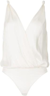 Jonathan Simkhai V-neck silk bodysuit
