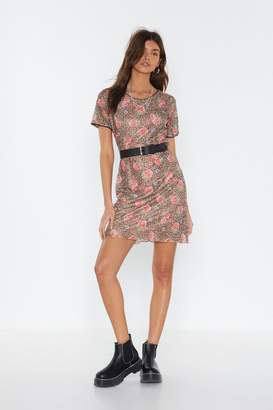 Nasty Gal Womens Mesh Me When I'M Gone Leopard Floral Dress - Brown - 4