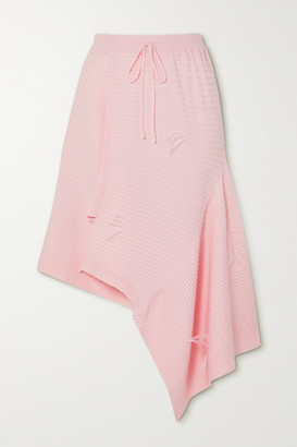 Marques Almeida Asymmetric Feather-embellished Ribbed-knit Skirt