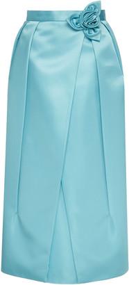 Prada High-Waisted Flower-Trimmed Satin Midi Skirt