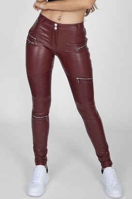 Hugz Jeans Wine Faux Leather Biker Pants High Waist