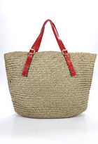 Beirn Beige Red Straw Snakeskin Contrast Extra Large Tote Handbag New