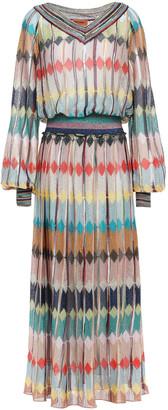Missoni Pleated Metallic Crochet-knit Midi Dress