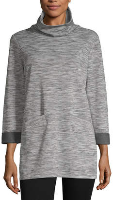 Liz Claiborne Weekend Womens Cowl Neck 3/4 Sleeve Tunic Top