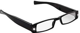 LIGHTSPECS Men's Rechargeable Ultra Bright LED Lighted Lightweight Rectangular Reading Glasses