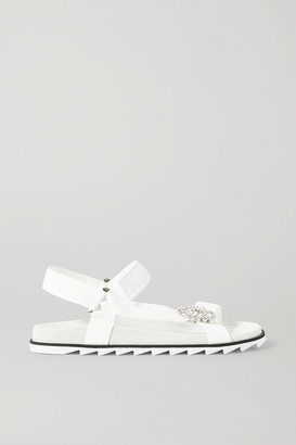 Roger Vivier Trekky Viv Crystal-embellished Grosgrain And Suede Sandals - White