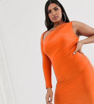 Club L London Plus one sleeve bodycon dress in orange