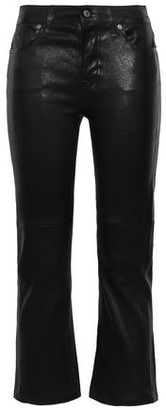 7 For All Mankind Cropped Stretch-leather Bootcut Pants