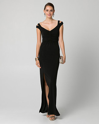 Le Château Jersey Off-the-Shoulder Ruched Gown