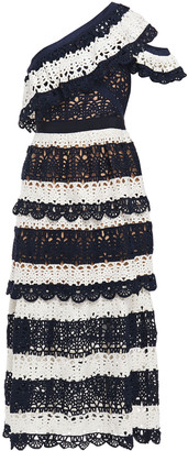 Self-Portrait One-shoulder Tiered Crocheted Lace Midi Dress