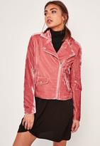 Missguided Pink Velvet Biker Jacket