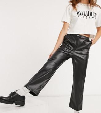 Reclaimed Vintage inspired highwaist leather look flare trouser in black
