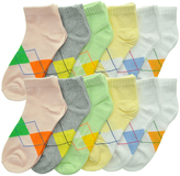 Angelina Beige & Green Argyle Low-Cut Trainer 12-Pair Socks Set