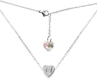 Swarovski Pink Box Women's Necklaces Silver - Stainless Steel Initial Heart Pendant Necklace With Crystals