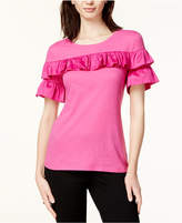Maison Jules Cotton Ruffled T-Shirt, Created for Macy's