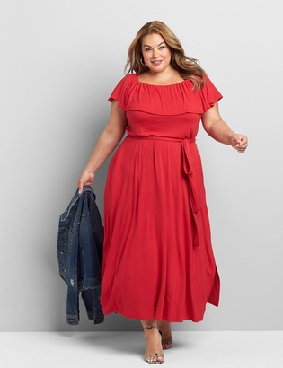 Lane Bryant Convertible Off-The-Shoulder Belted Maxi Dress