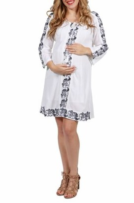 24/7 Comfort Apparel 24seven Comfort Apparel White Cotton Embroidered Maternity Peasant Dress