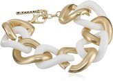 "T Tahari Marina Club"" White and Gold Link Bracelet, 7.5"""