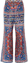 Mes Demoiselles Printed Cotton-blend Voile Flared Pants - Blue