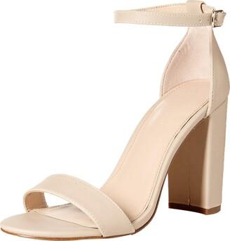 The Drop Women's Rebecca Strappy High Block Heel Sandal 5 (US) 3 (UK) Bone Faux Leather