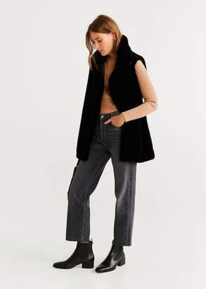 MANGO Faux fur vest black - XXS - Women