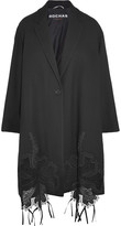 Rochas Embroidered tulle-paneled crepe coat