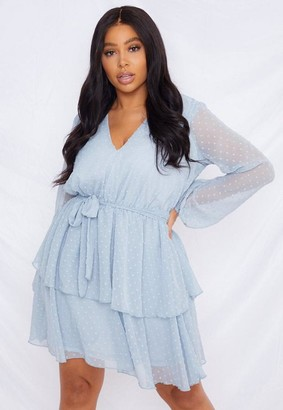 Missguided Plus Size Blue Dobby Tiered V Neck Dress