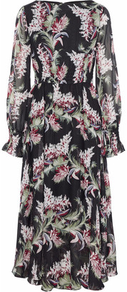 Mikael Aghal Shirred Floral-print Chiffon Midi Dress