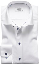 Eton White Twill Shirt With Navy Details - Contemporary Fit